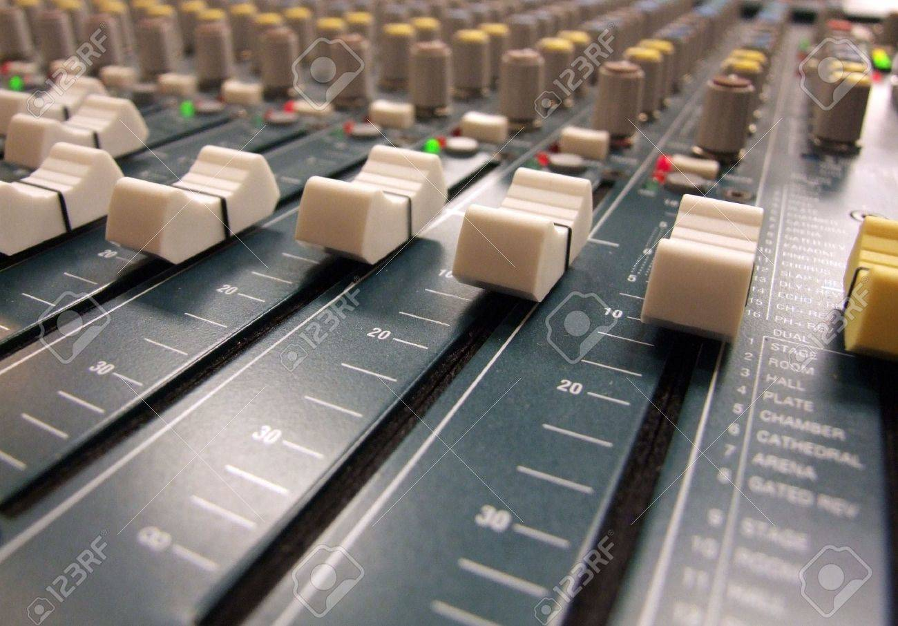 Here is a sound man's view of a mixing board / console at the