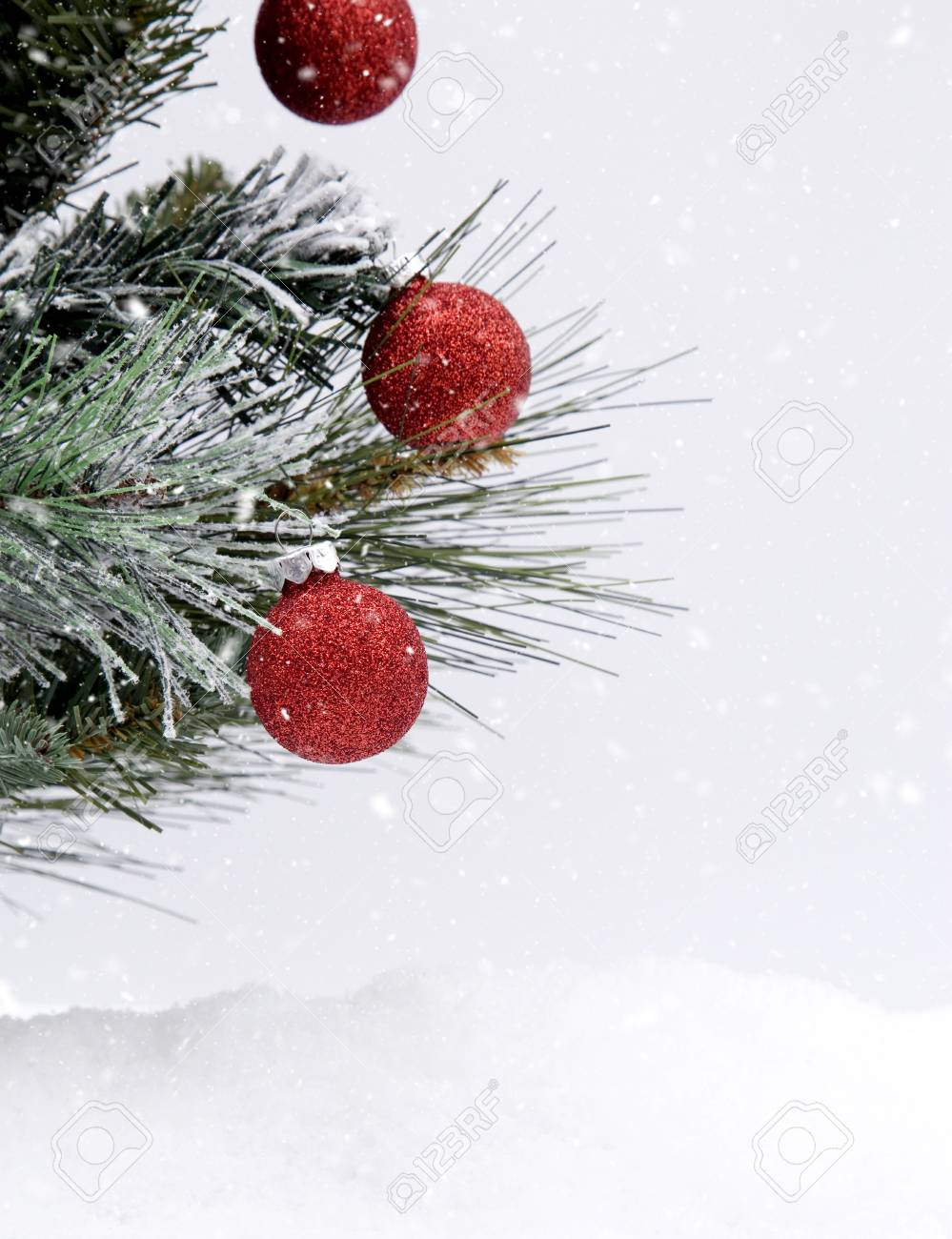 christmas themed background in the snow stock photo, picture and