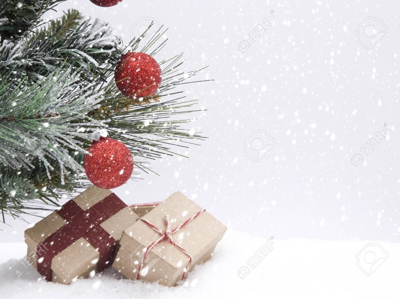 christmas themed background in the snow stock photo picture and