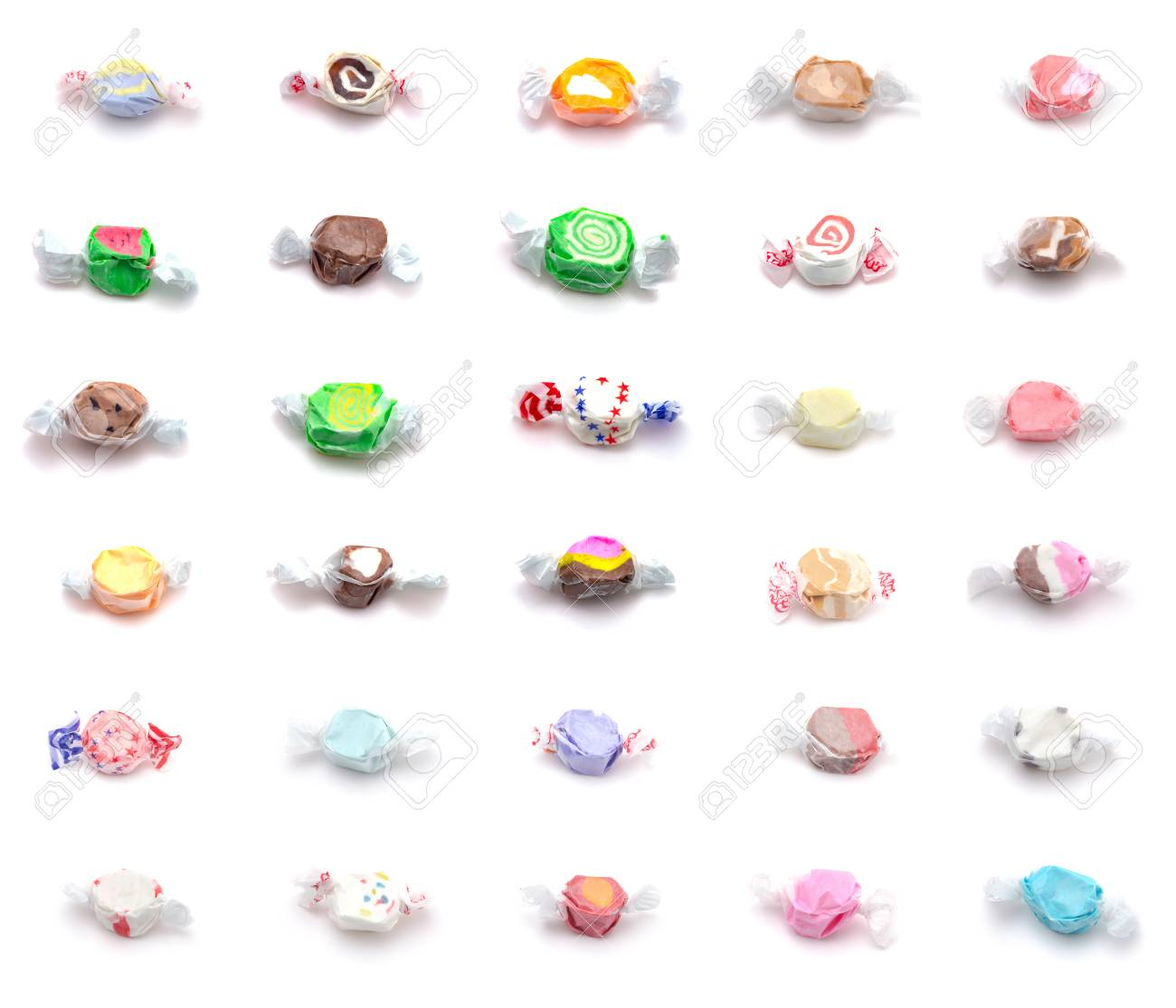 Collage of Thirty Different Flavors of Salt Water Taffy