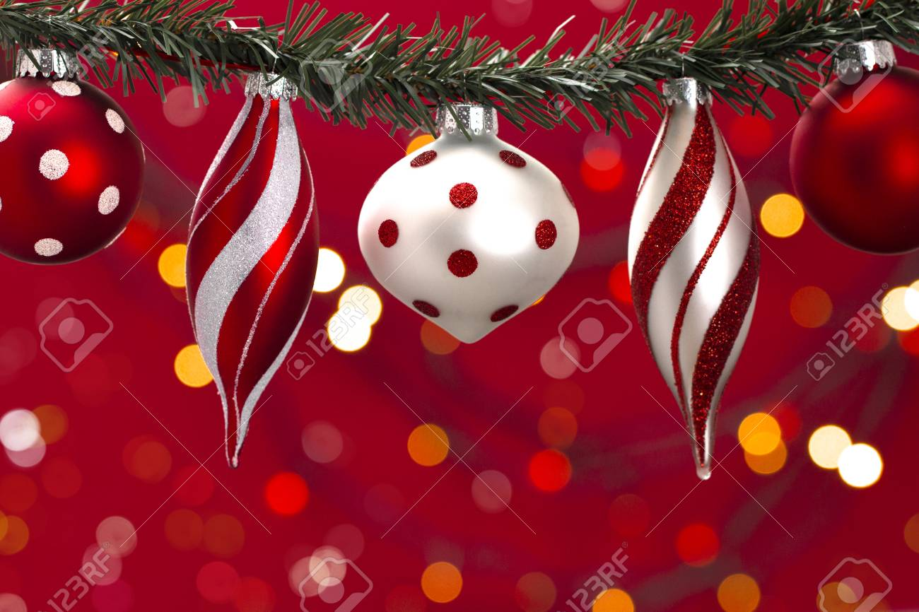 Background With A Line Of Various Red And White Christmas Ornaments