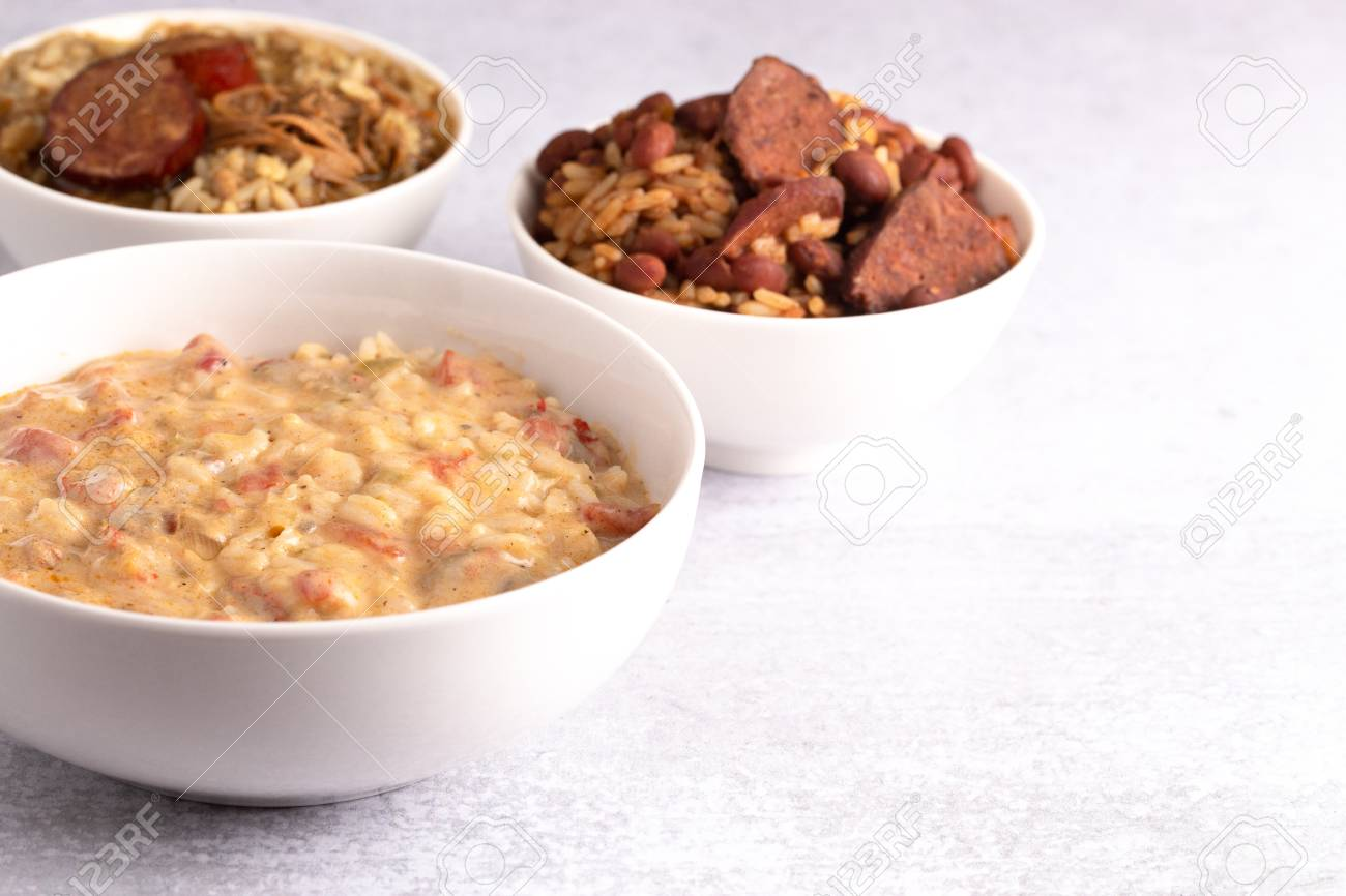 A Bowl Of Crawfish Etouffee With Gumbo And Red Beans And Rice Stock Photo Picture And Royalty Free Image Image 114906770