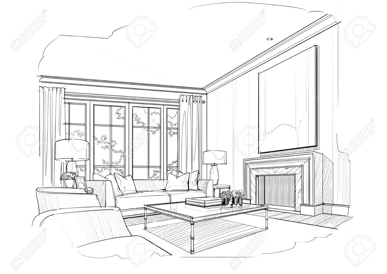 Sketch Living Room Black And White Interior Design