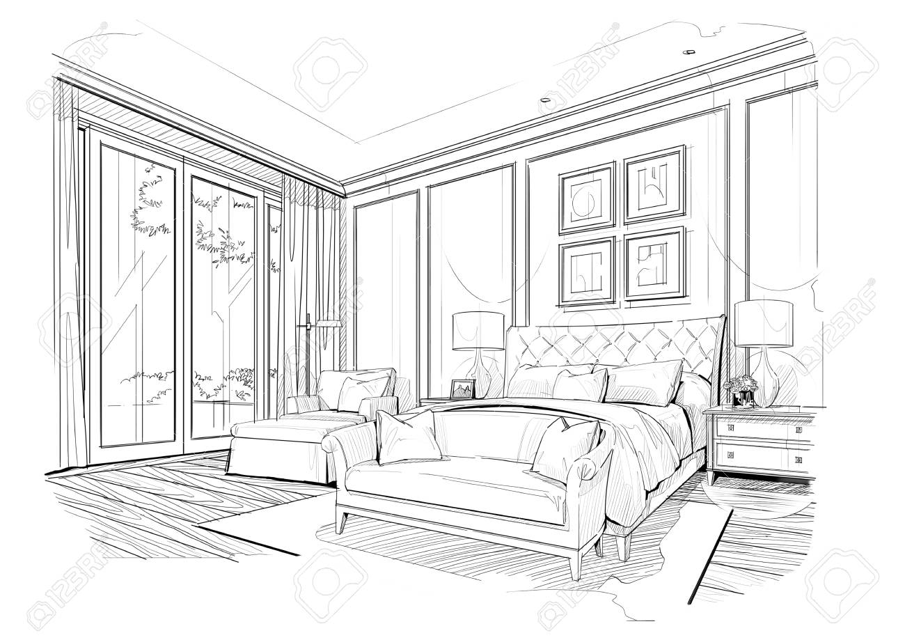 Sketch Bedroom Black And White Interior Design Stock Photo Picture And Royalty Free Image Image 93199922