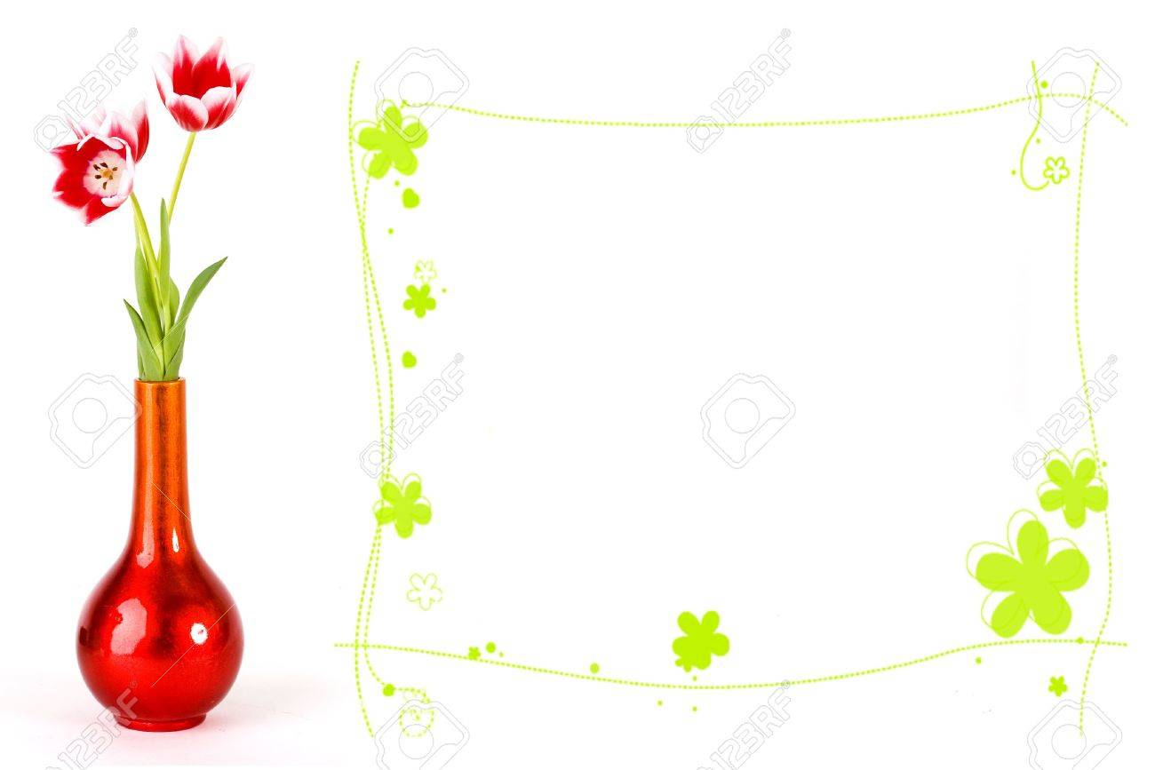 Tulips in red vase, flower frame for copyspace Stock Photo - 889968