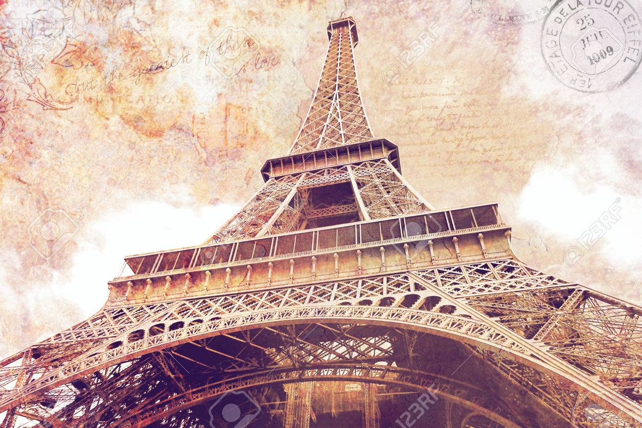 picture relating to Printable Eiffel Tower titled Summary electronic artwork of Eiffel Tower within Paris. Aged paper. Electronic..