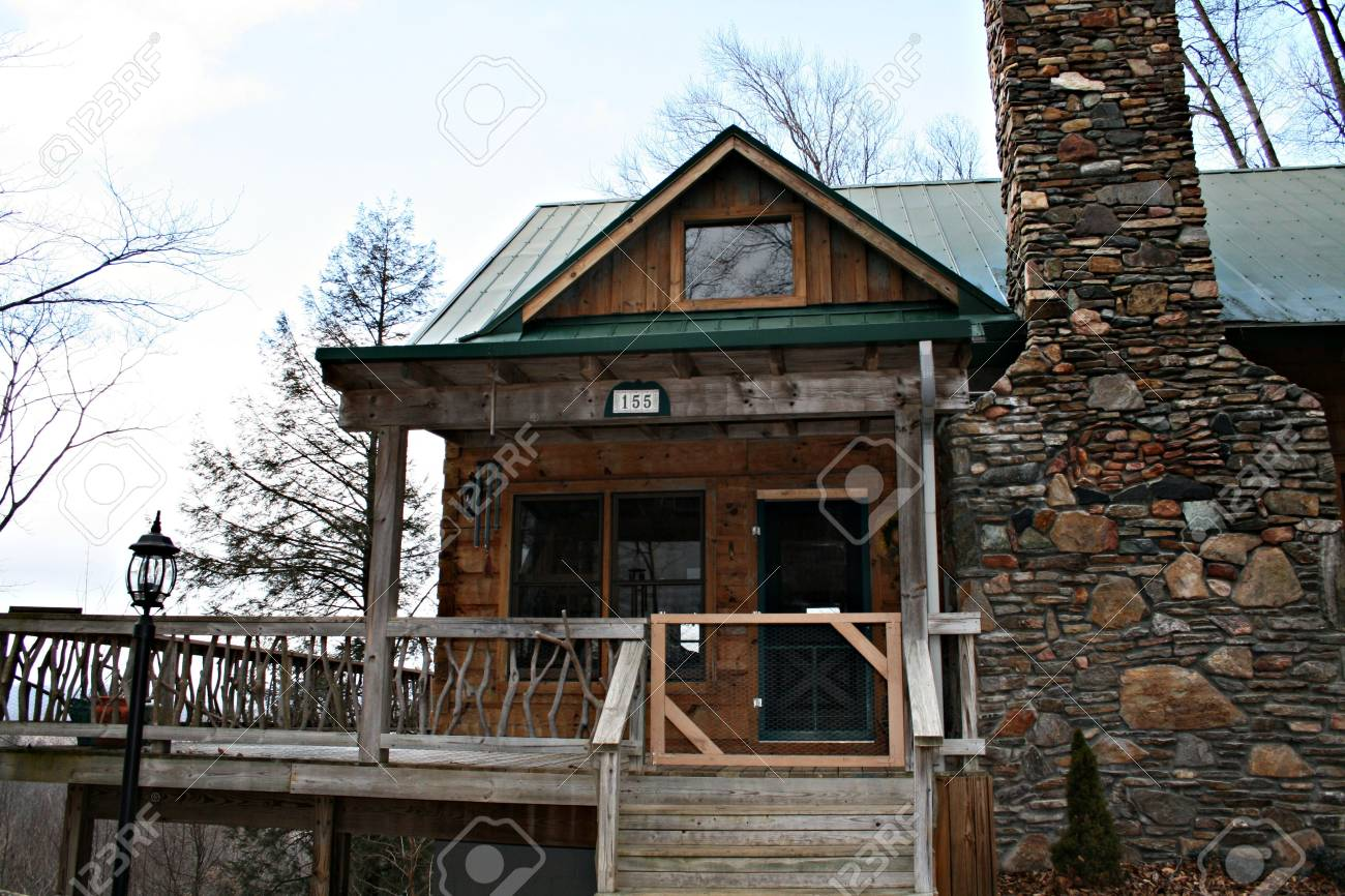 Vacation home With Rock Chimney Stock Photo - 2605979