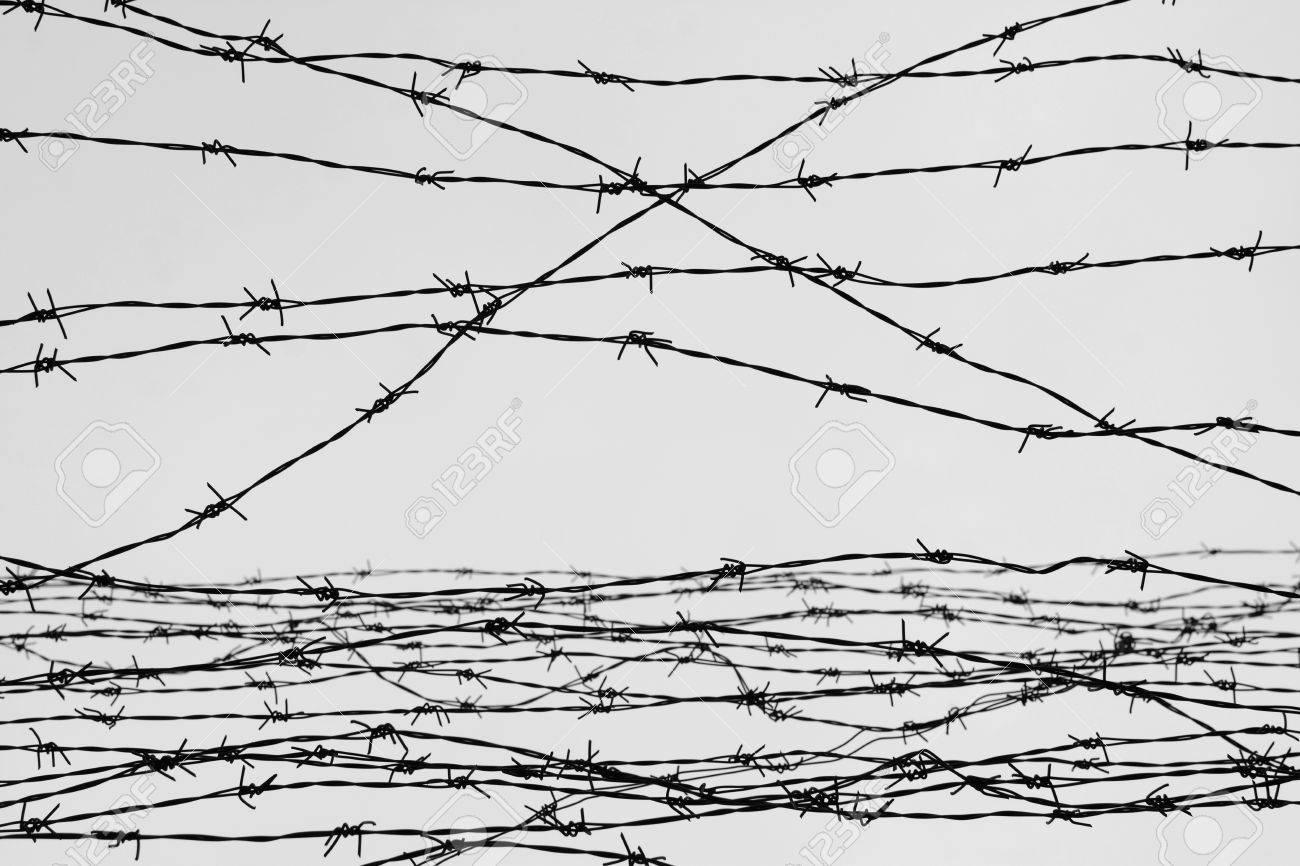 Fencing. Fence With Barbed Wire. Depressive Background. Black ...