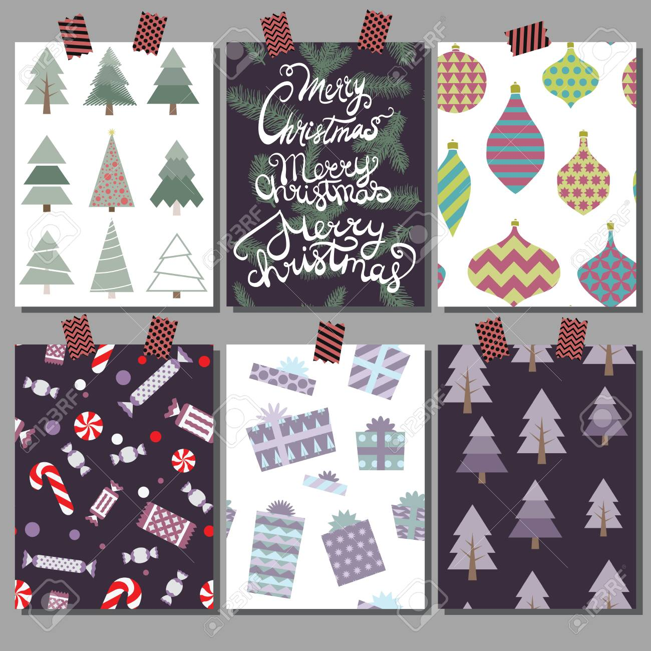 vector collection of christmas poster templates christmas set