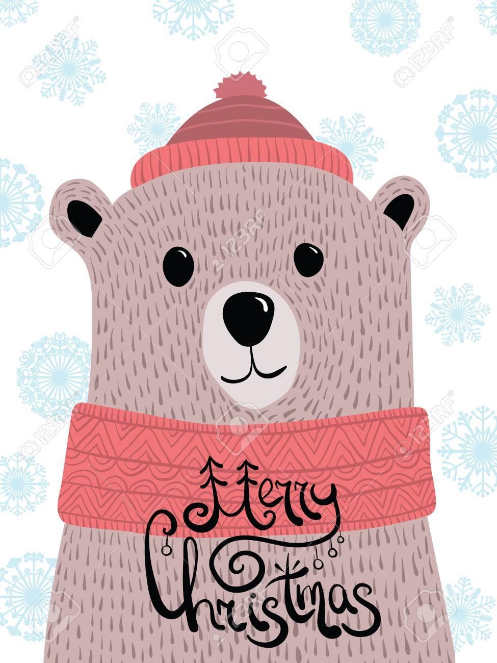 Joyeux Noel Petit Ours Brun.Vector Illustration De Noel Avec Un Portrait D Un Ours Brun Cartoon Grizzly Avec Lettrage Joyeux Noel Carte Du Nouvel An Portez Un Capuchon Et Une