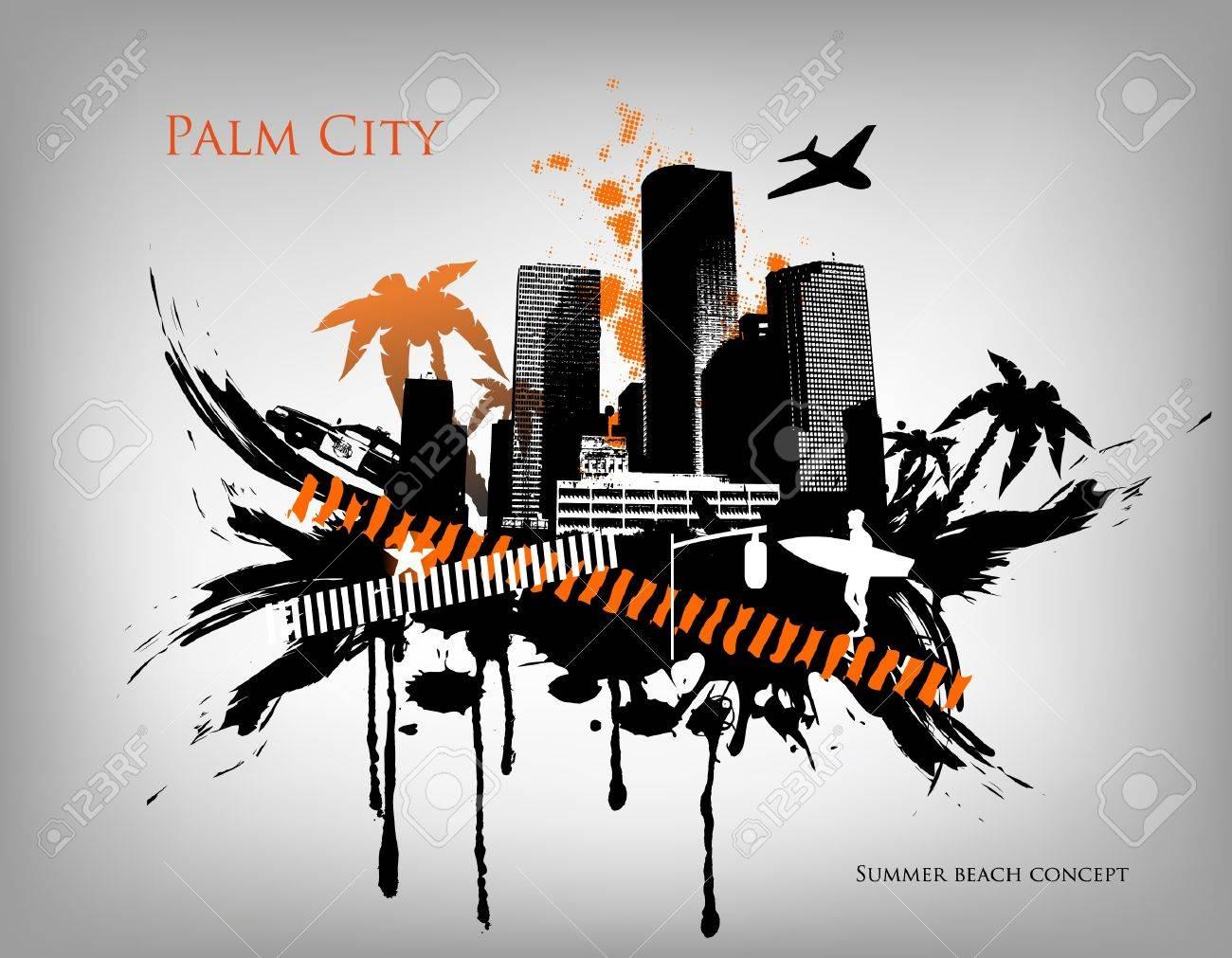 Summer Palm City Vector Illustration Stock Vector - 14127057