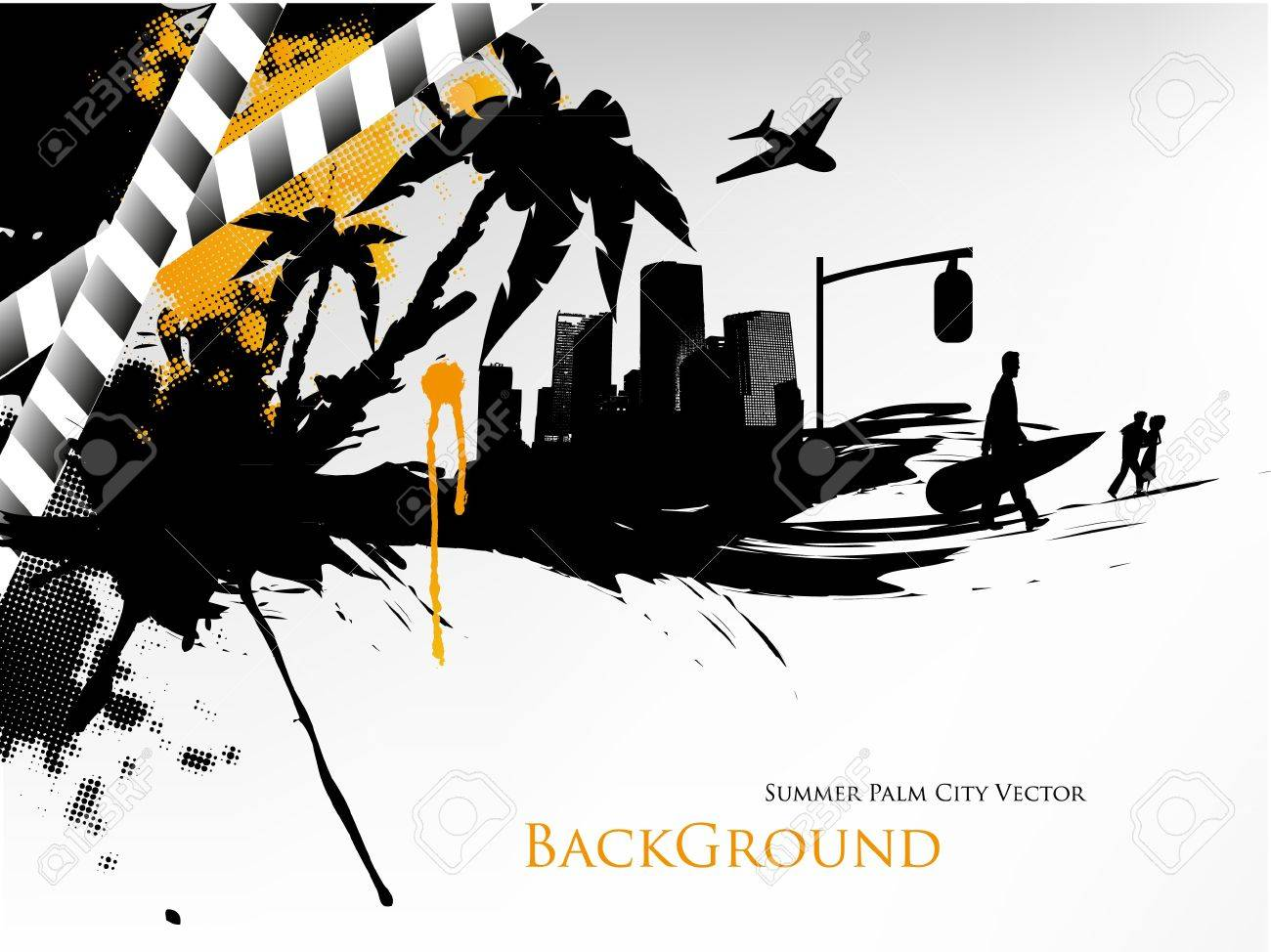 Summer Palm City Vector Illustration Stock Vector - 14127058