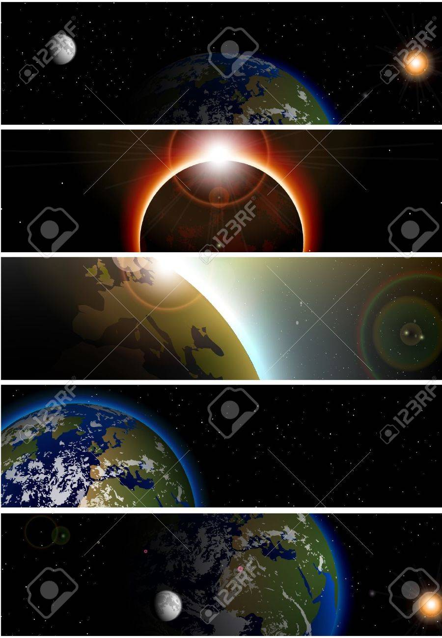 Collection of 5 banners for website space theme Stock Vector - 14181426