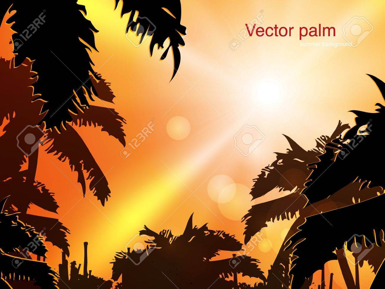 Jungle at sunset background illustration Stock Vector - 14178547