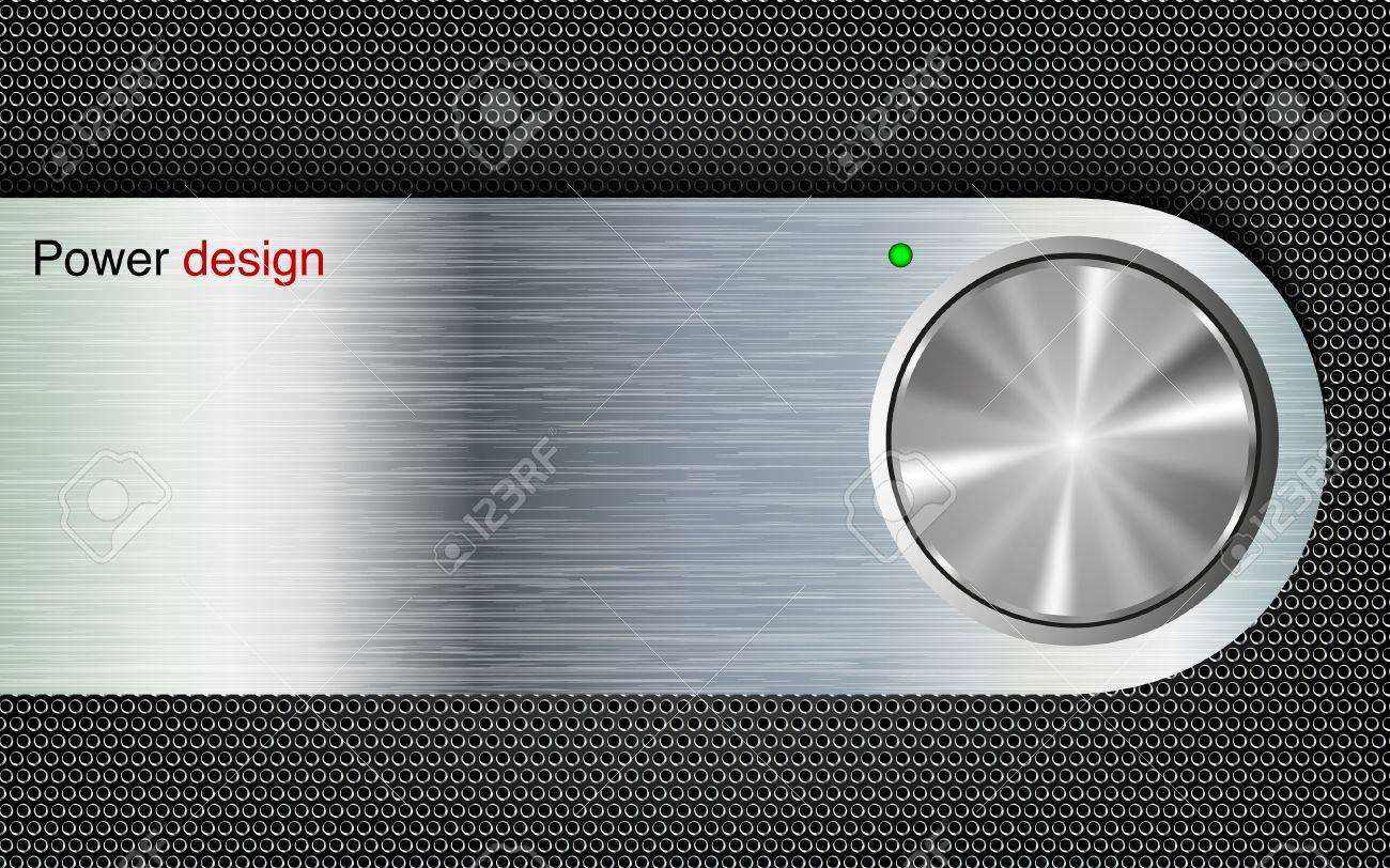 power button on a metal background Stock Vector - 14180080