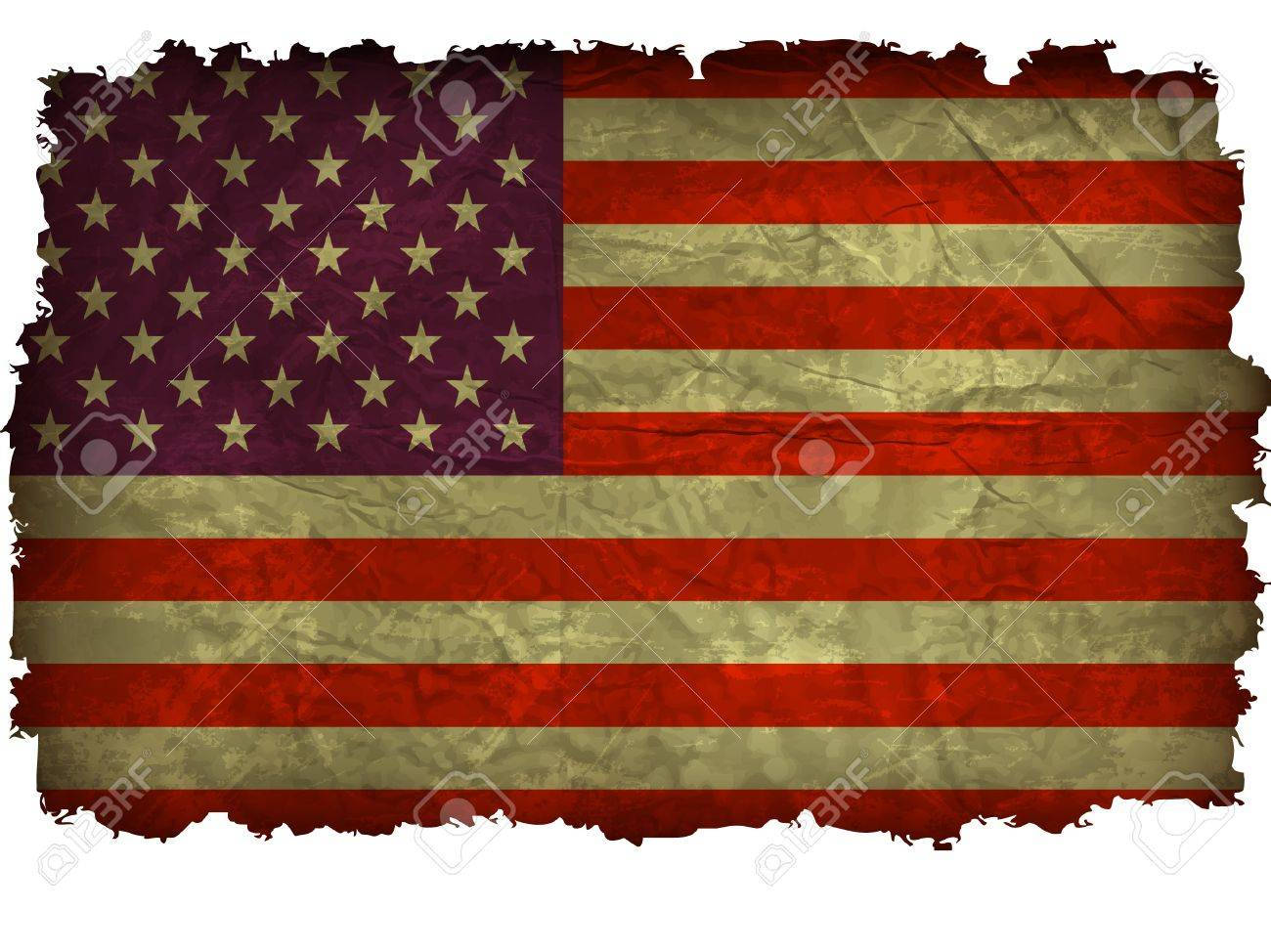 An Grunge American Flag With Charred Edges Stock Vector