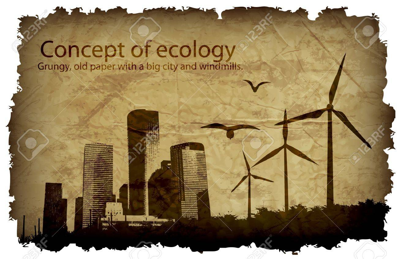grungy, old paper with a big city and windmills  concept of ecology Stock Vector - 14536083
