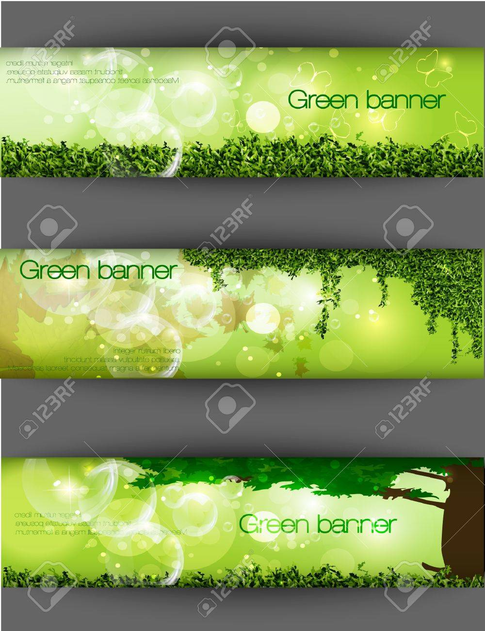green banner with grass and leaves Stock Vector - 15225676