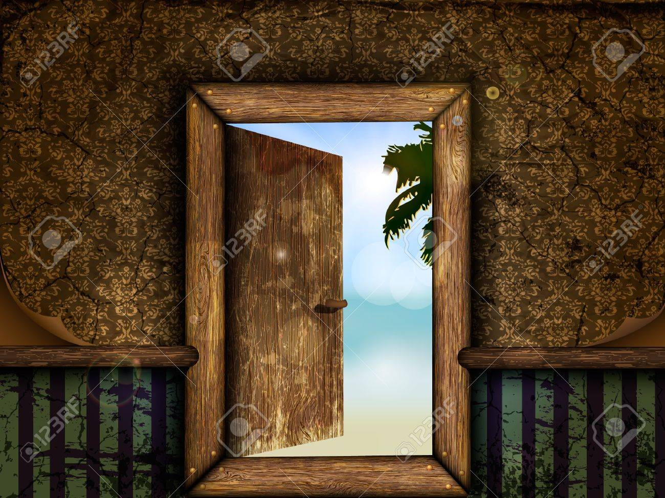 Open the wooden door with a view to the sea and the beach Stock Vector - 15225689