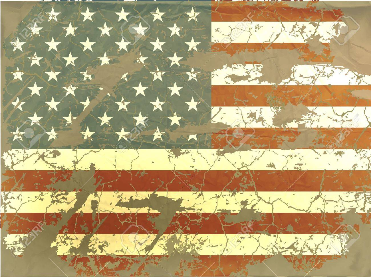 old American flag Stock Vector - 15515770
