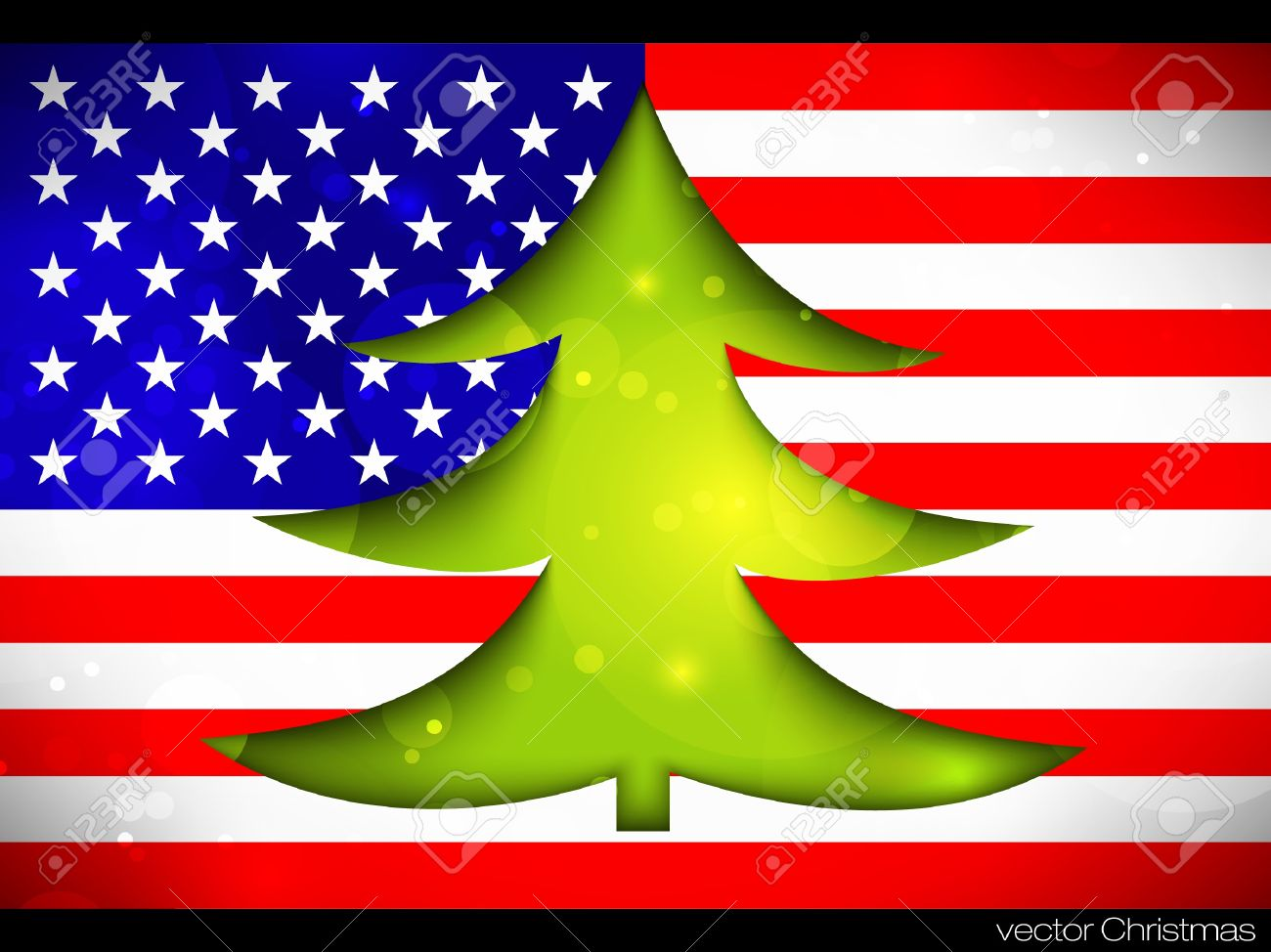 Christmas Tree On The American Flag Royalty Free Cliparts, Vectors ...