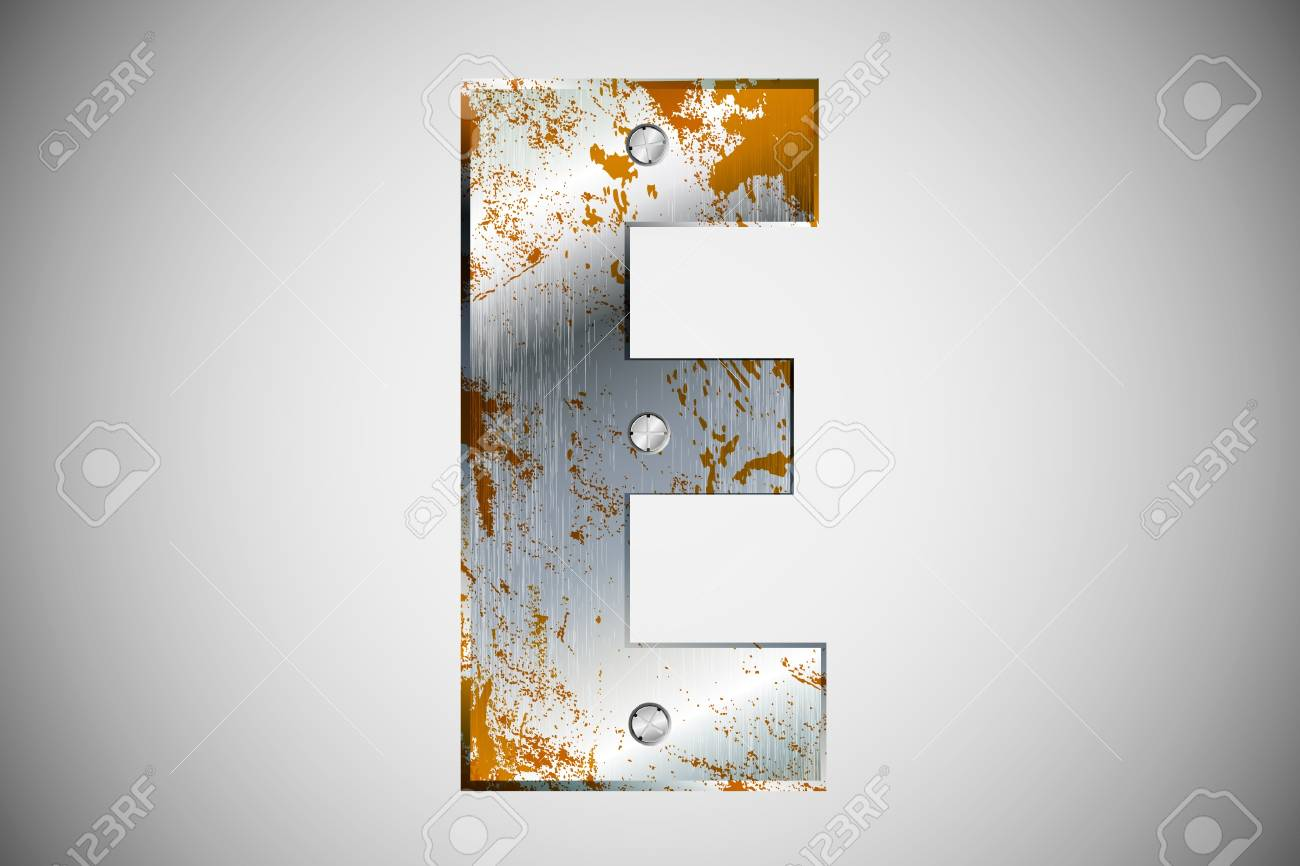 Metal letters of the alphabet E Stock Vector - 16503496
