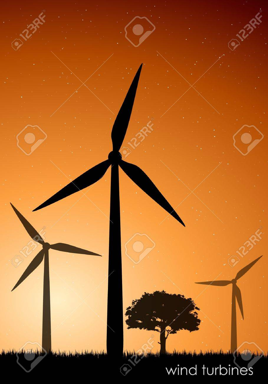 The concept of green energy  vector wind turbines Stock Vector - 16493310