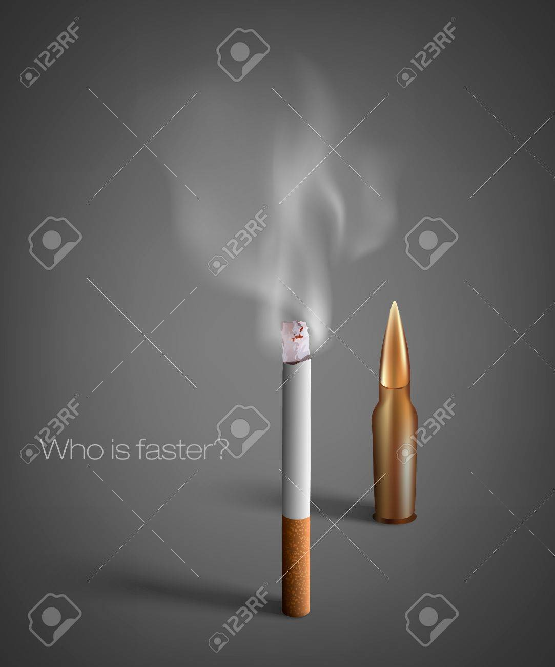 smoldering cigarette with a smoke with a bullet Stock Vector - 16700191