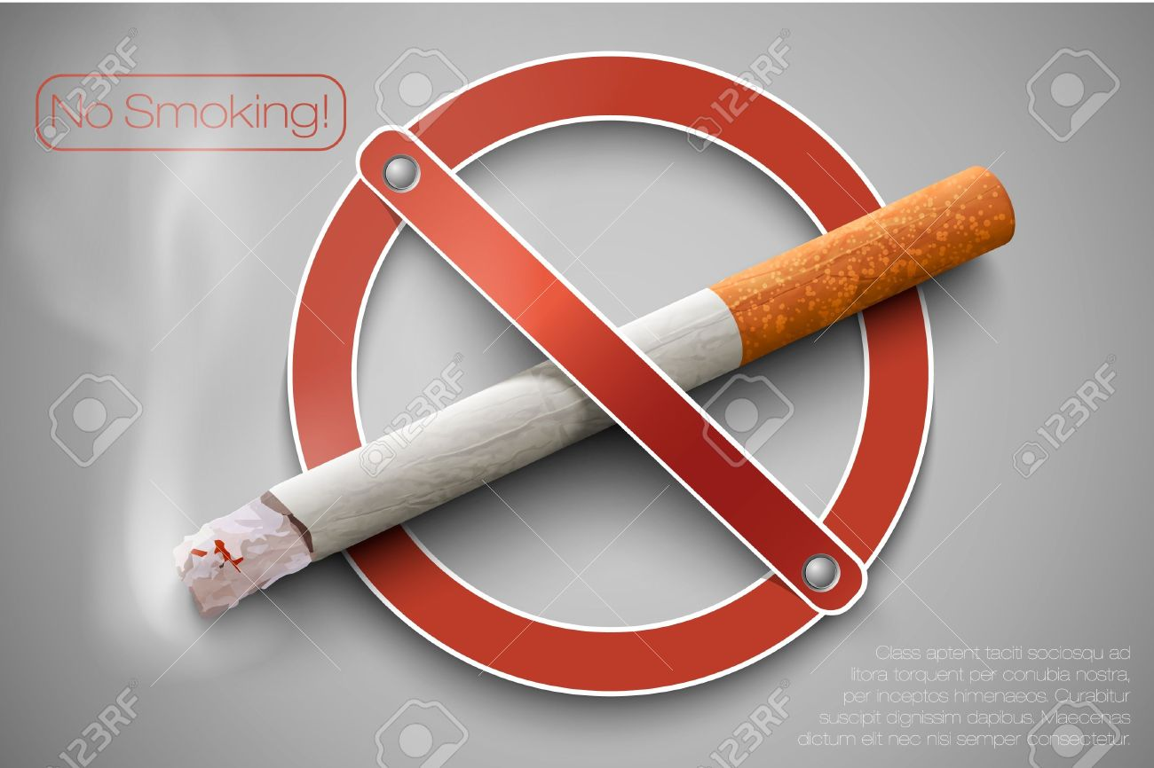 3D no smoking sign with a realistic cigarette Stock Vector - 16900391
