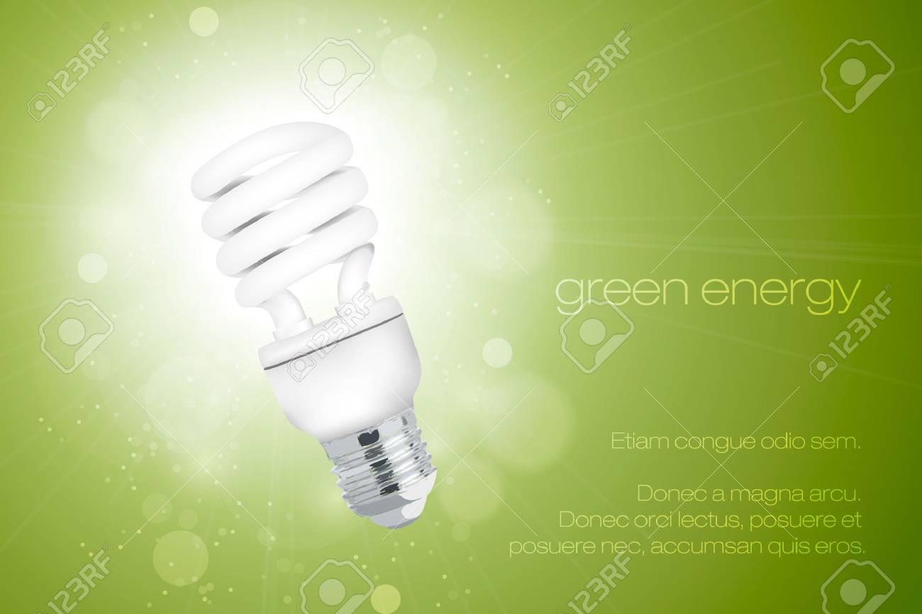 Energy Saving Light Bulb With A Bright Stock Vector