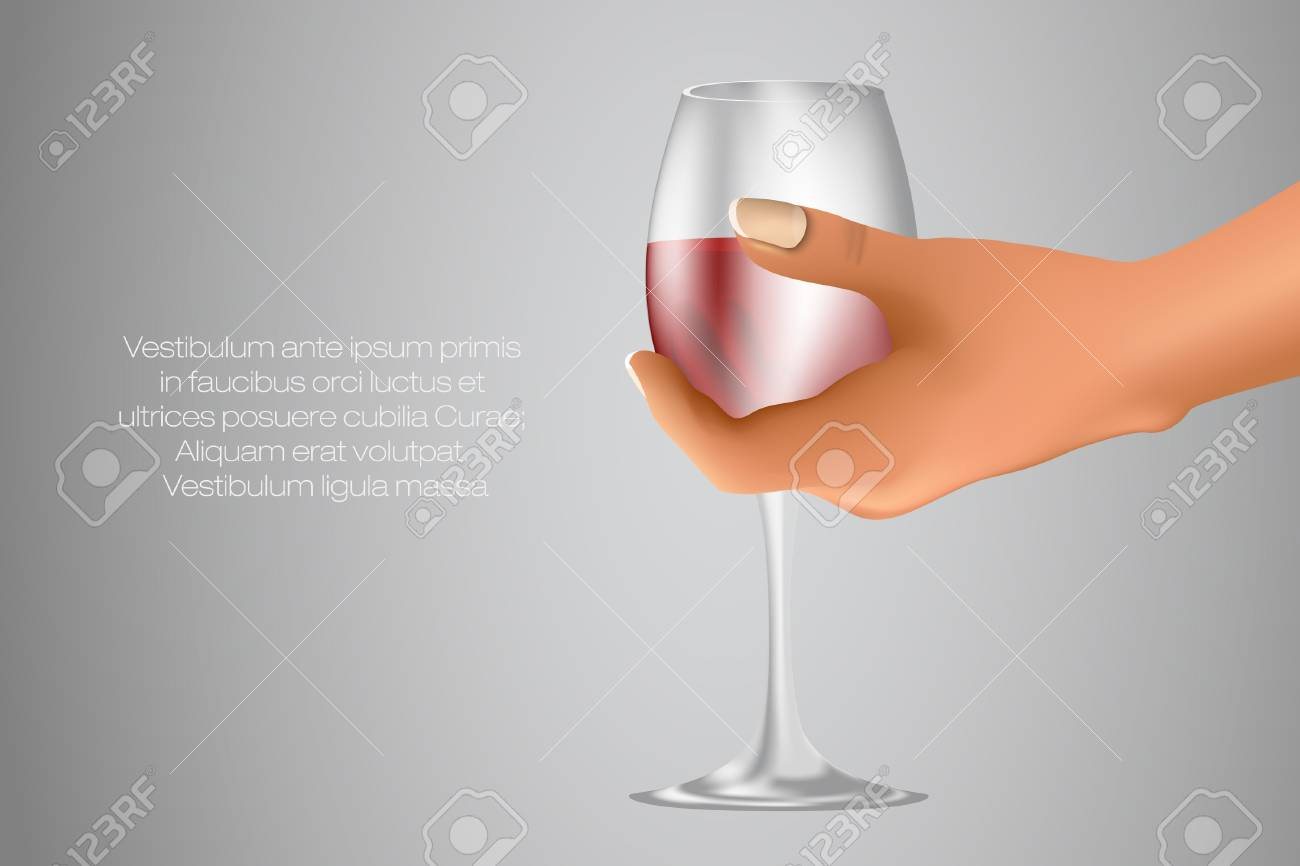 glass of red wine in hand Stock Vector - 17852519