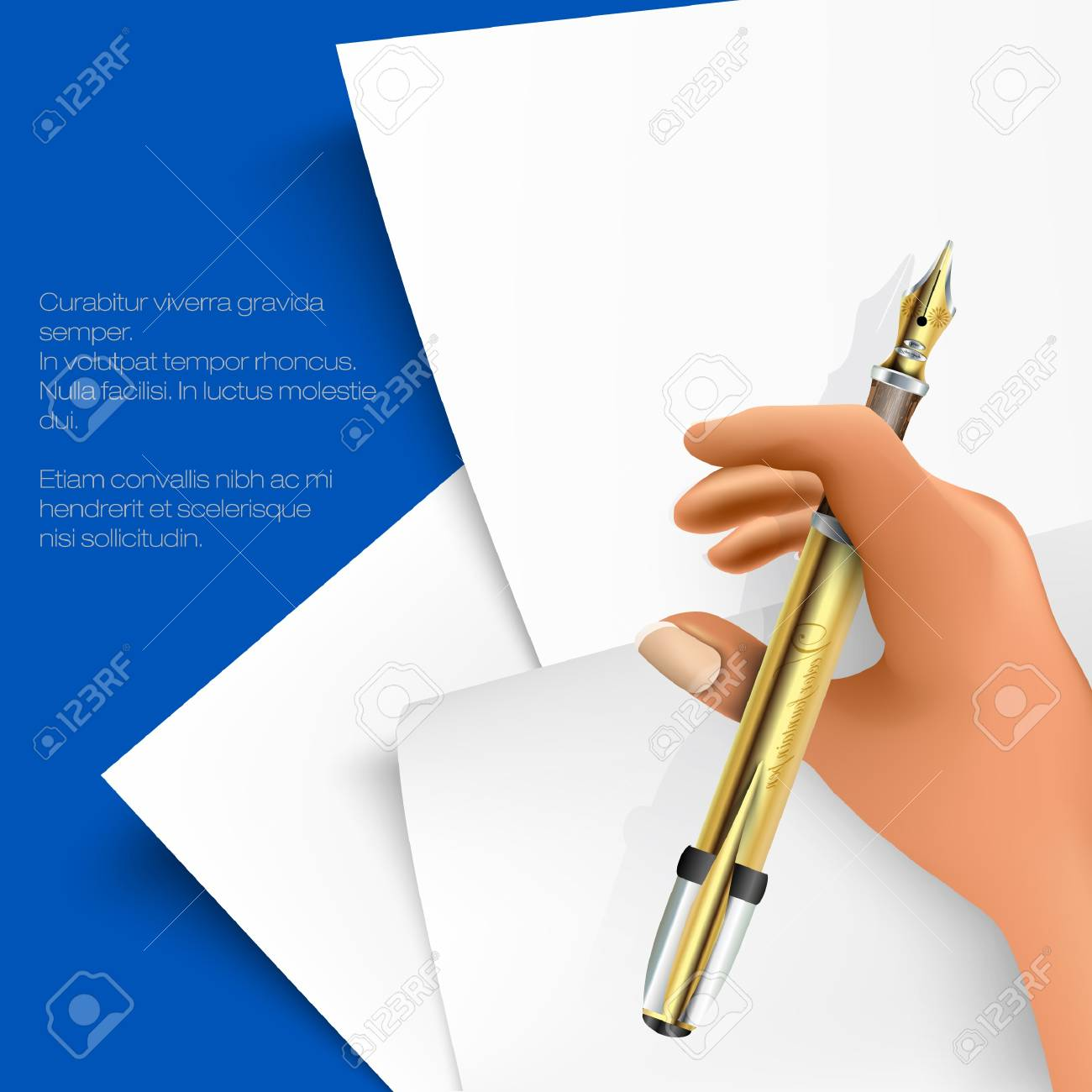 stack of papers with writing hand Stock Vector - 18419752