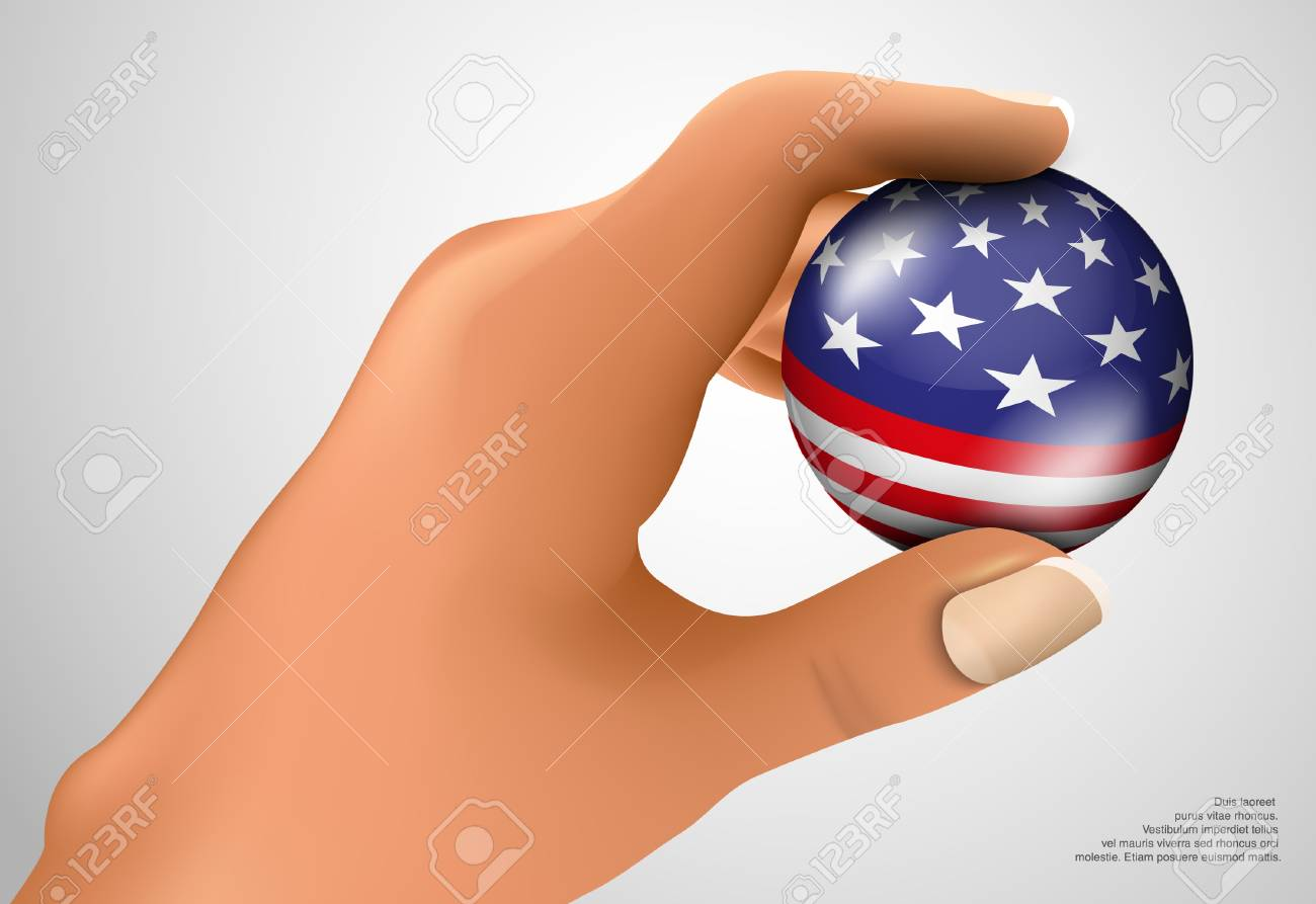 American flag with the ball in his hand Stock Vector - 18419765