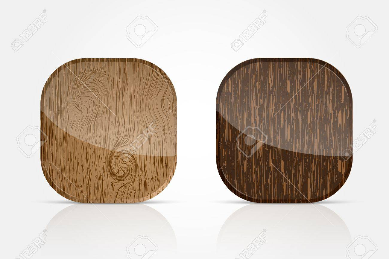 wooden icons for applications Stock Vector - 18419683