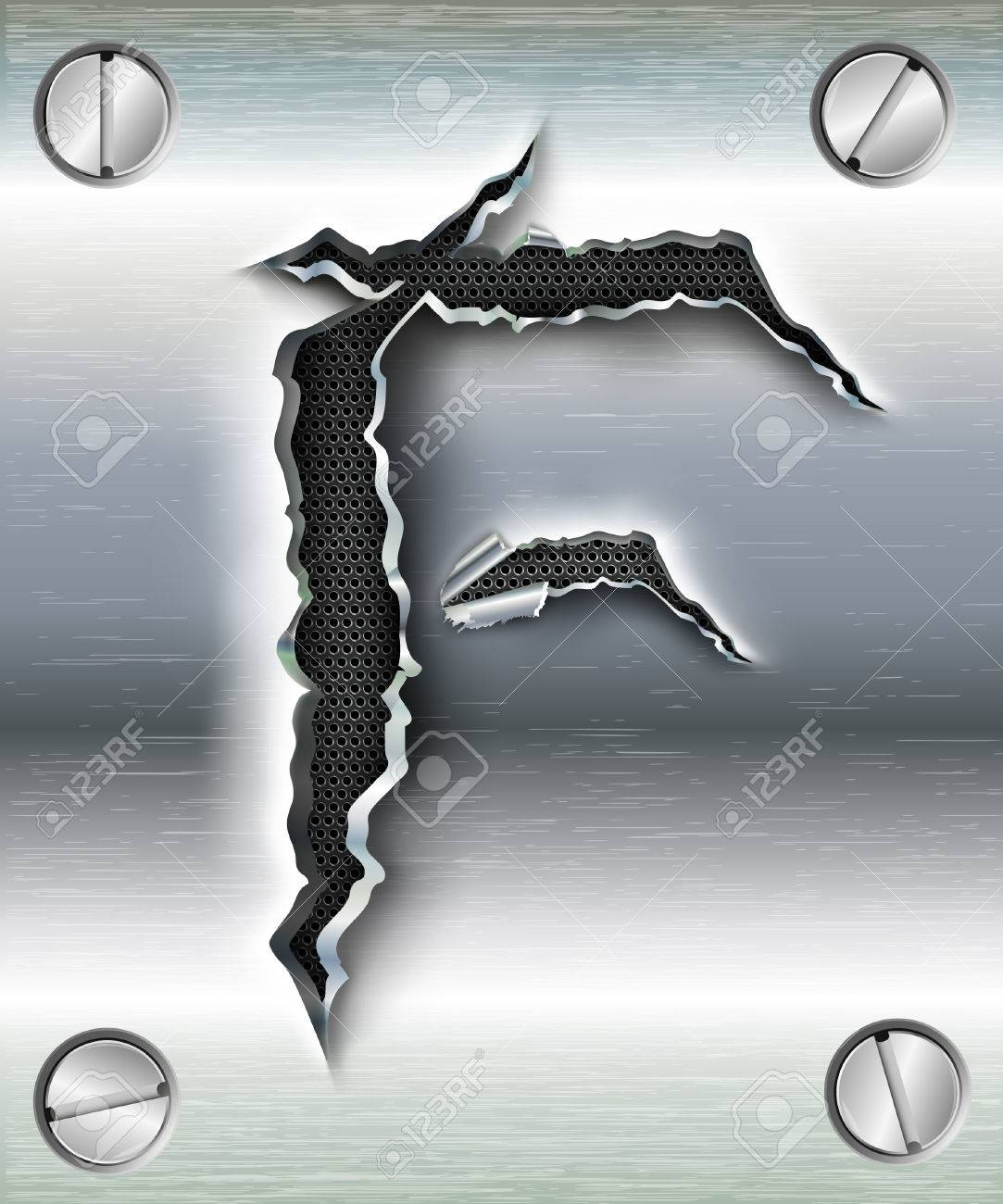 letter F cut out in metal Stock Vector - 23080084