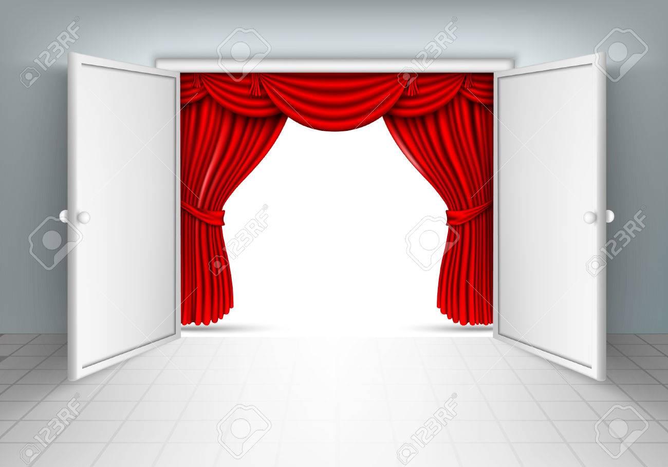 Rideau Porte D Entrée porte d'entrée avec rideau rouge