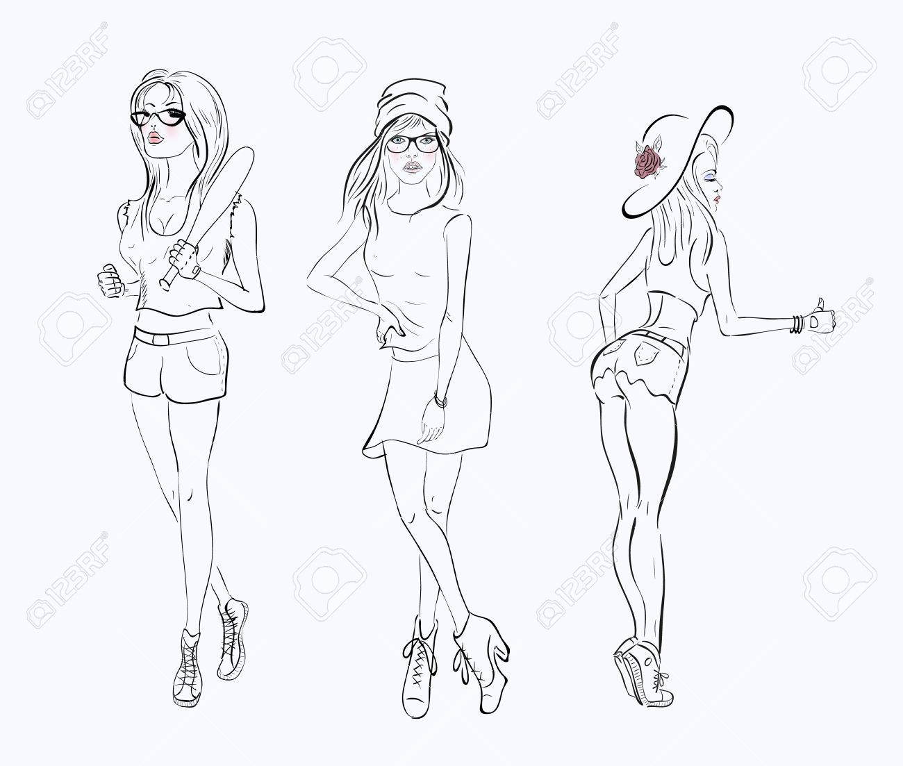 White dress drawing - Vector Sketch Drawing Girl In A Short Dress On White Background