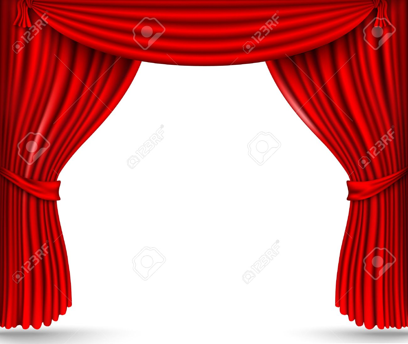 red silk curtains stage - 30111109