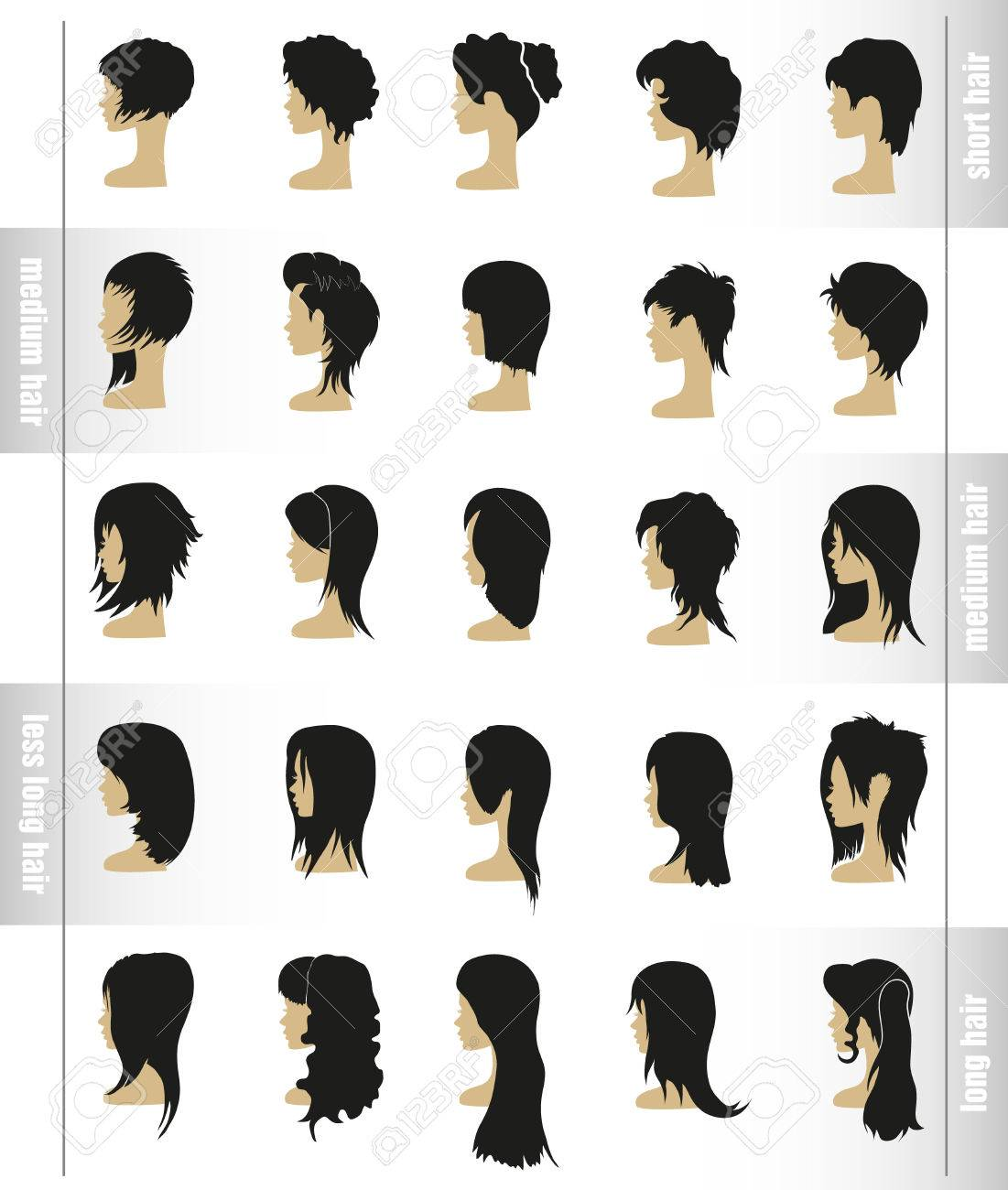 vector set of women s hairstyles and haircuts view profile royalty