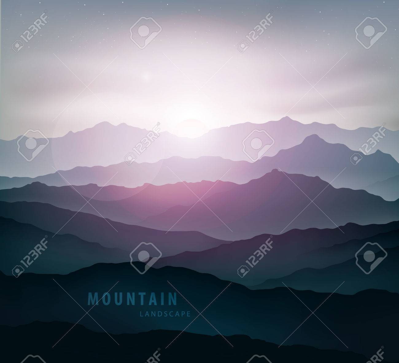 dark blue mountain landscape with fog and a sunrise and sunset - 47531152