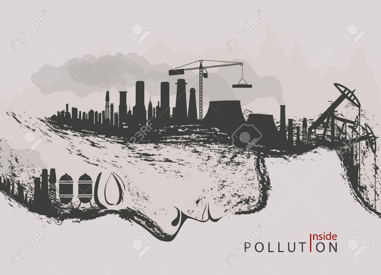 Artistic concept of environmental pollution by factories against nature stock vector 57638857