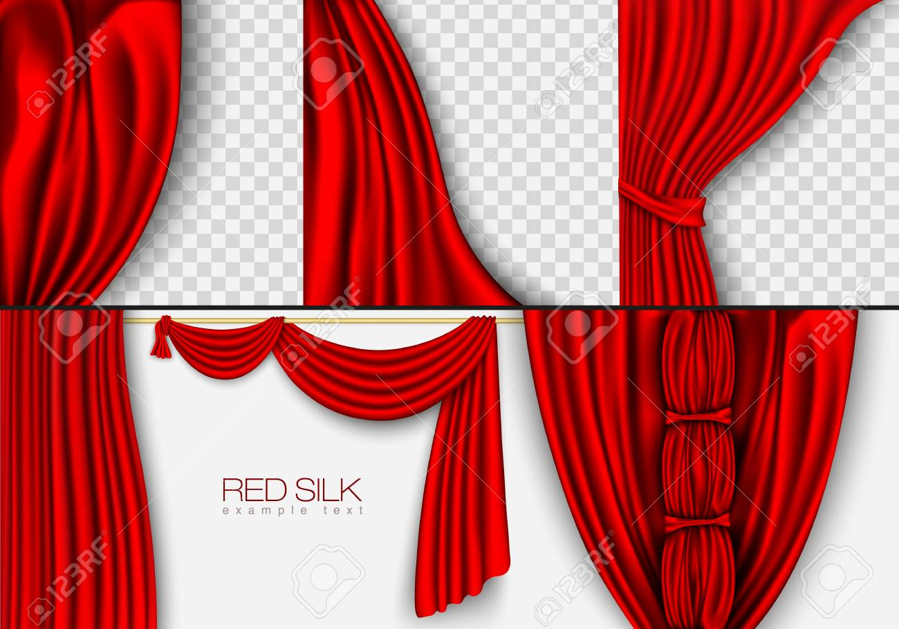 Zijden Gordijnen Rode Kleuren Geïsoleerd Op Een Witte Achtergrond ...