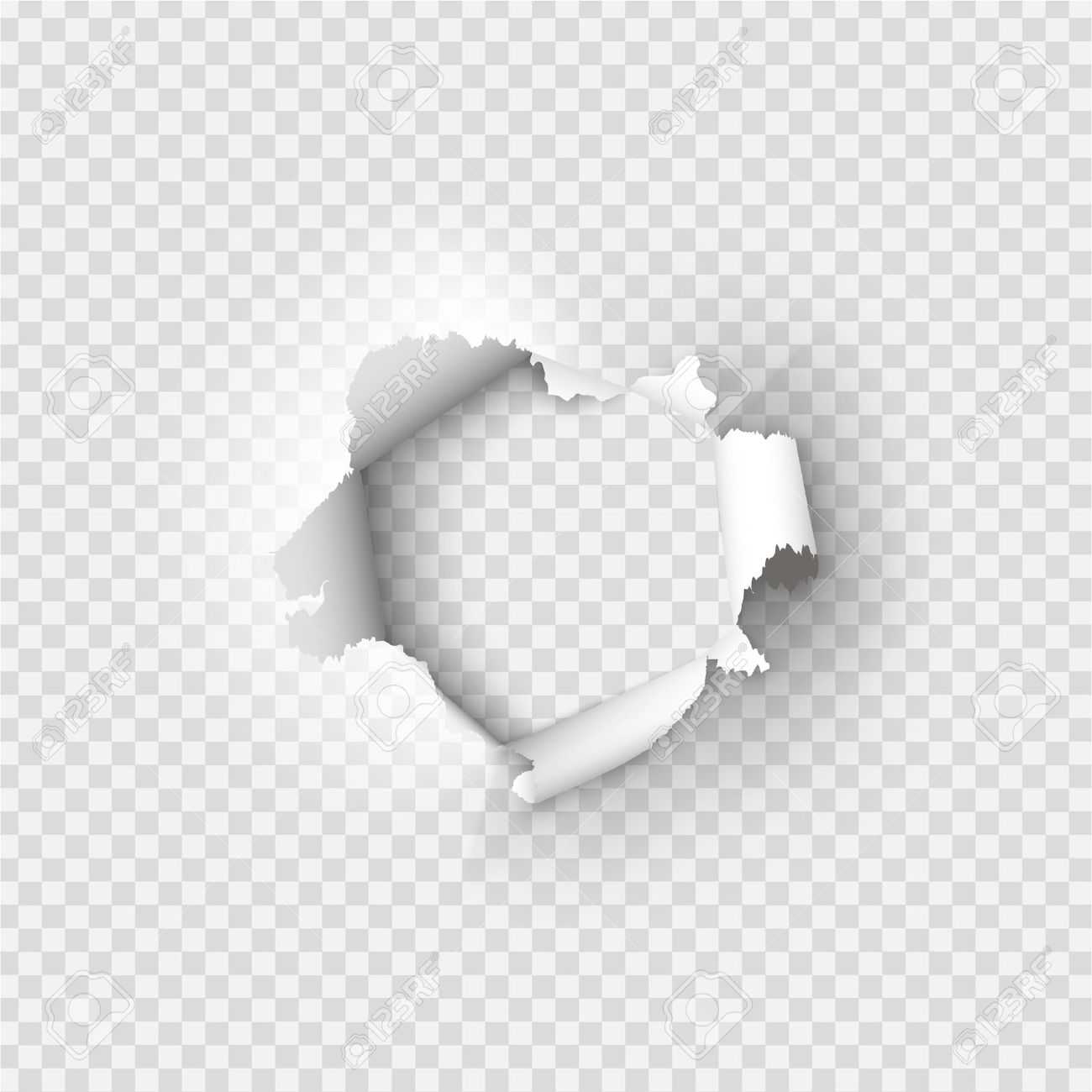 Holes torn in paper on transparent background - 78092294