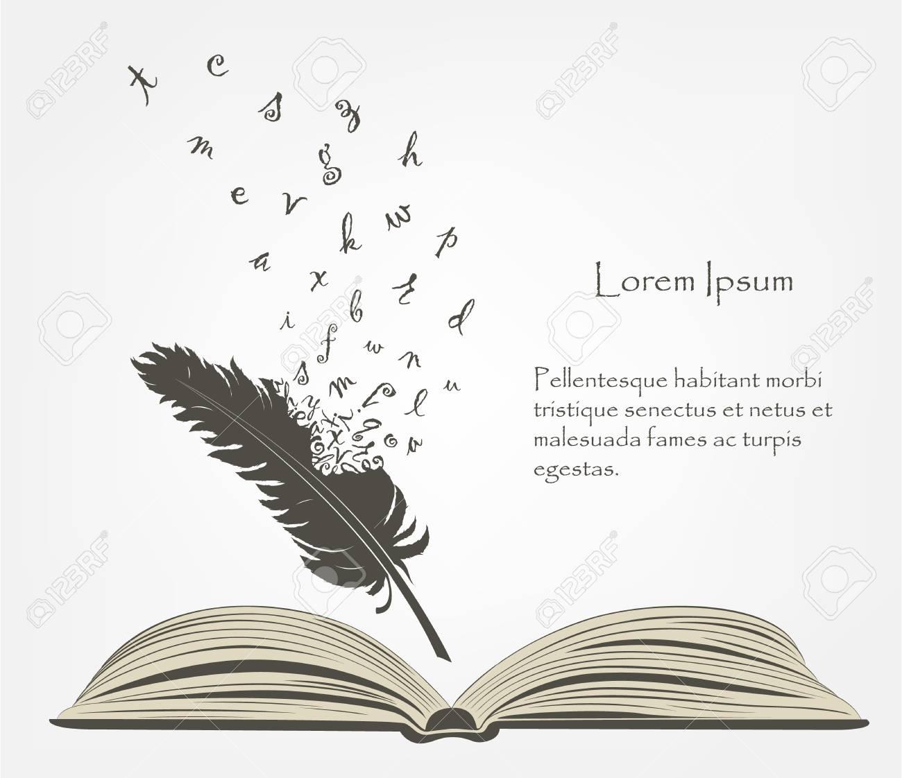 Crit Vieille Plume Avec Des Lettres De L Alphabet Volant Et Livre Ouvert