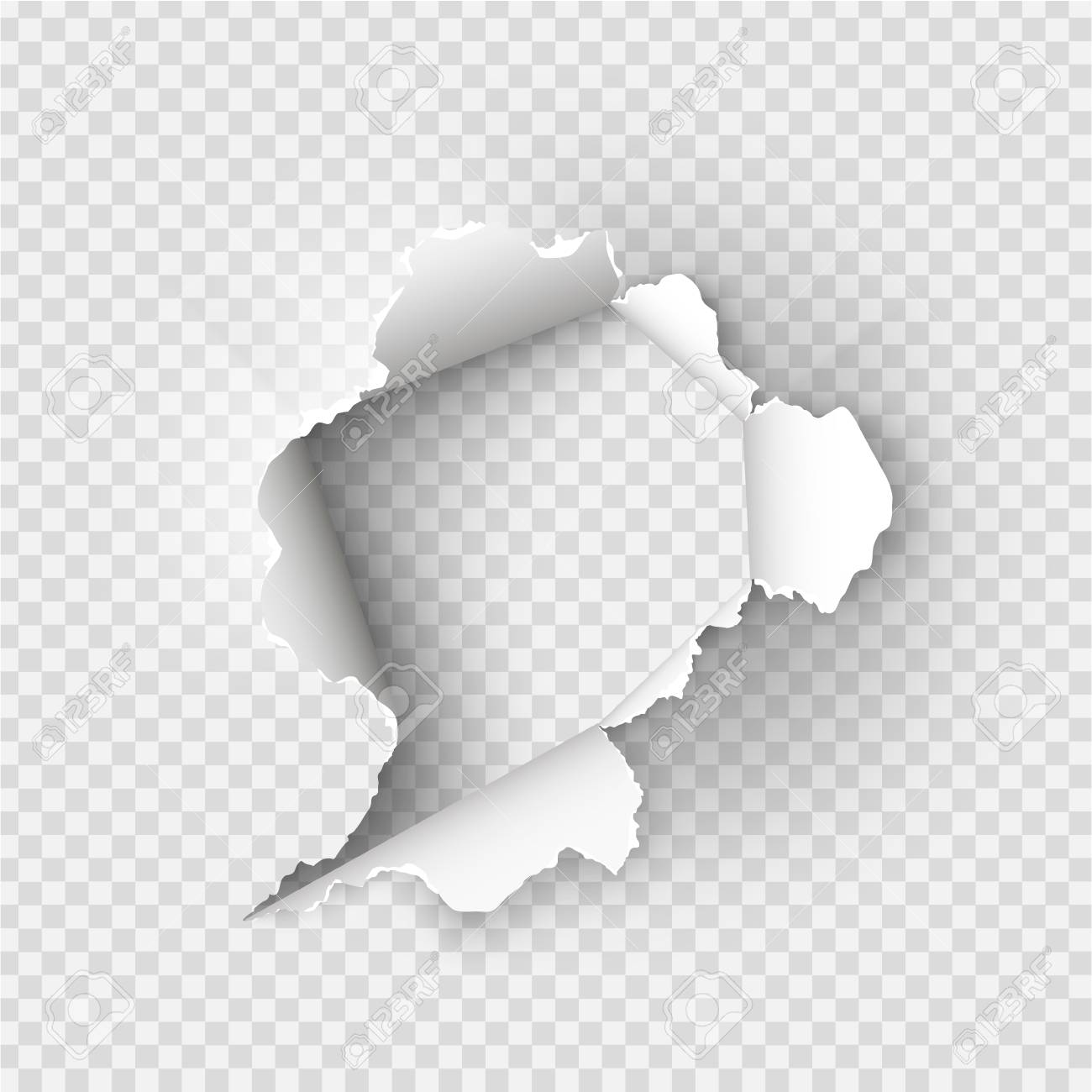 ragged hole torn in ripped paper on transparent background royalty