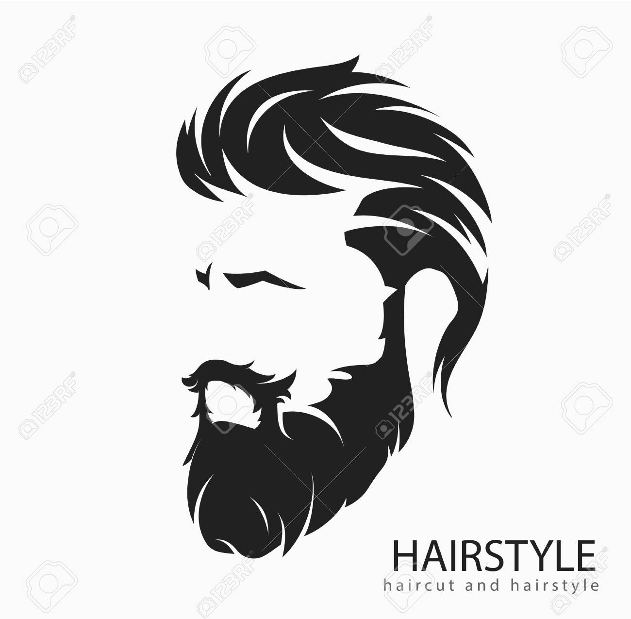 Men hairstyle and hair cut with beard mustache.