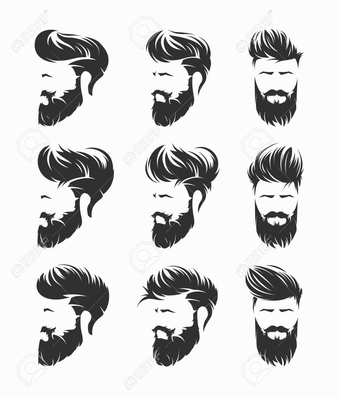 Mens Hairstyles Vector Set Royalty Free Cliparts Vectors And Stock