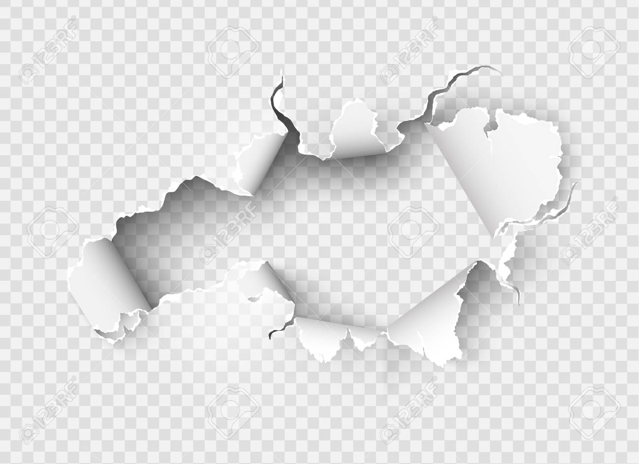 Ragged Hole torn in ripped paper on transparent background - 103515002