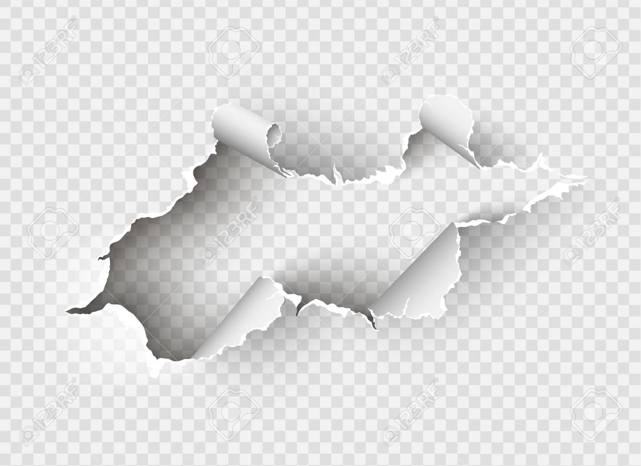 ragged Hole torn in ripped paper on transparent background - 104013227