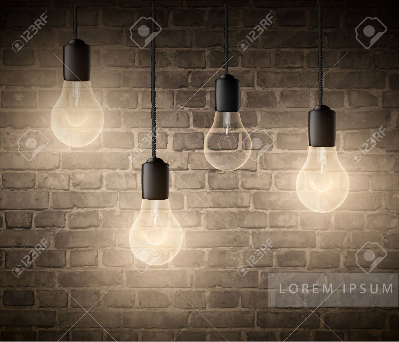 Glowing Light Bulbs Set Of Hanging Lights On A Brick Wall Royalty Free Cliparts Vectors And Stock Illustration Image 110624341